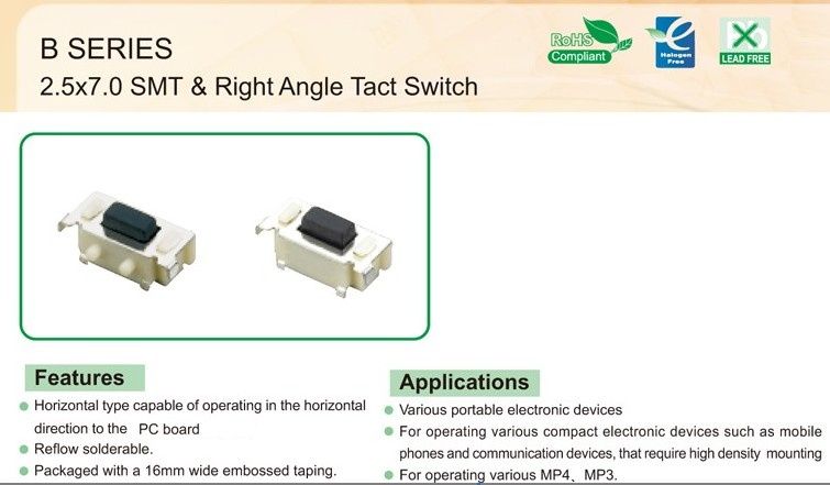 Tst3635 2 5 7 0 Smt Amp Right Angle Tact Switch Product 正翔电子